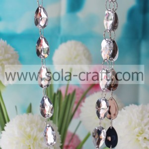 17 * 28 mm blanco Shinny Cut Diamond Beads Garland lágrima moldeada cortina para la lámpara de la prisma