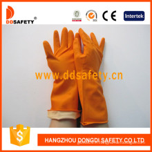 Gants de ménage en latex orange avec rouleau / manchette perlé (DHL302)