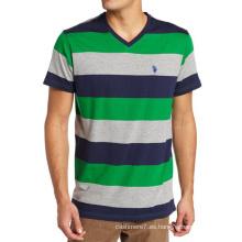 Camiseta de algodón con estampado de rayas personalizado de los hombres CVC