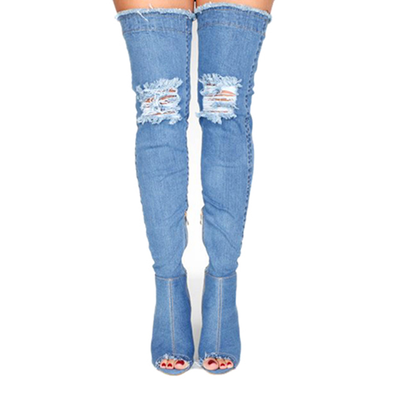 blue denim fabric sexy high heel boots