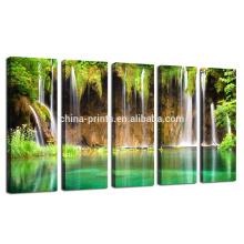 Arte de parede de tela grande, paisagem de parede de paisagem de montanha, Cópia de tela de cachoeira verde para decoração de sala de estar