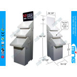 Advertise Corrugated Cardboard Display Stands Three Tray Floor Display , White