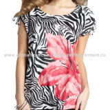 Women's T-shirts, Positioned Flowers Sublimation Printing, Shoulder Decoration, Fashion DesignNew
