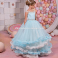 New Arrival Lace Appliques Tiered Cloud Ball Gown Flower Girl Dress Off Shoulder girl flower fancy dress competition