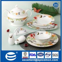 Presse de prestige royal Ensemble de dîner en porcelaine de qualité supérieure Grace porcelaine papillon