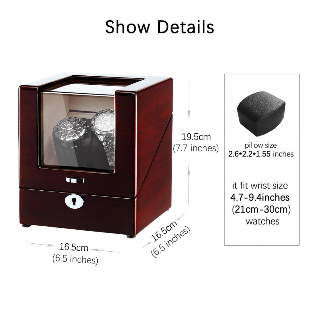 Ww 8116 Handmade Mahogany Single Watch Winder Size