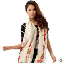 2014 new Ladies' hand printed flower diamond-structure 100% cashmere shawl manufacturer