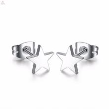 Moda por atacado de prata da forma da estrela de aço inoxidável estrela mulheres brinco