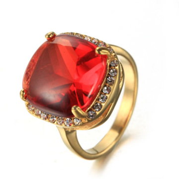 Ladies Gold Cutting cz stone Gemstone ring
