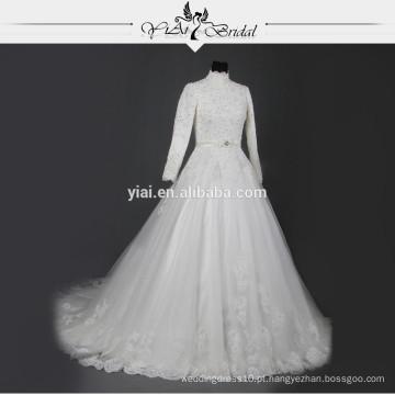 RSW733 de manga comprida de pescoço alto muçulmano vestido de casamento imagens de amostra 2015