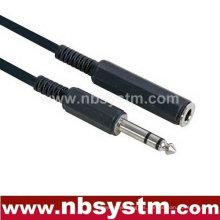 6.35mm estéreo varón a 6.35mm cable hembra estéreo