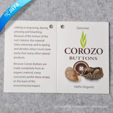 Etiqueta colgante de impresión de logotipo de diseño de marca / etiqueta de oscilación de papel