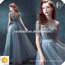 Neue Ankunfts-elegante schöne Spitze Applique eine Linie formales graues Abend-Kleid-Abendessen-Kleid