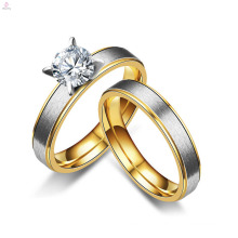 Fashion Simple Cheap Stainless Steel Lovers Matte Marriage Zircon Bridal Rings