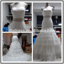 Lace StrapLess Mermaid Custom Made Floor Length Formal Bridal Dress Vestidos De Novia BW072 images réelles robe de mariée Chine