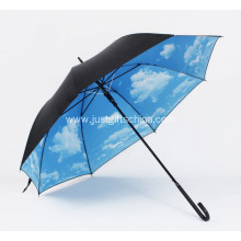 Promotional Full Printed Black Long Handle Umbrella
