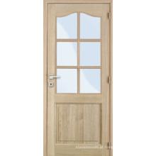 Porta de folheado de mogno de teca e carvalho de madeira maciça de trilhos de madeira maciça