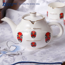 Chinês tradicional estilo de cultura fino osso China chá pote e chaleira conjunto