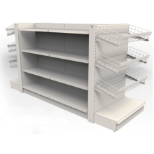 Angle steel shelves in a convenience store