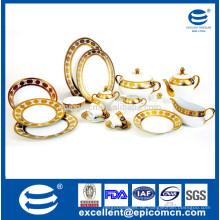 86pcs oder 121pcs rundes glänzendes goldenes Porzellanset