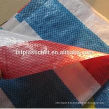 Bâche résistante de poly marché blanc rouge de rayure, diverses tailles disponibles