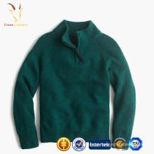 Camisola de gola alta do inverno para crianças, camisola de lãs dos meninos com zíper