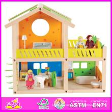 2014 nouveaux enfants jouet en bois maison, jouet de semblant populaire enfants en bois jouet maison, vente chaude bébé poupée en bois jouet maison ensemble usine W06A053