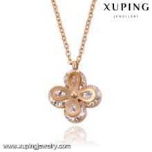 Colar-00064 moda elegante rosa banhado a ouro cz diamante aço inoxidável colar de pingente de jóias