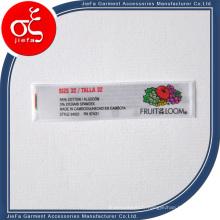 Étiquette imprimée par satin coloré de logo de marque à prix bon marché / étiquette de vêtements