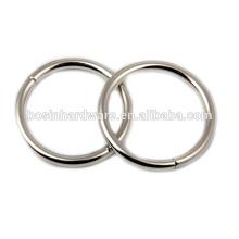 Moda de alta qualidade de metal prata não soldado anel O para a bolsa