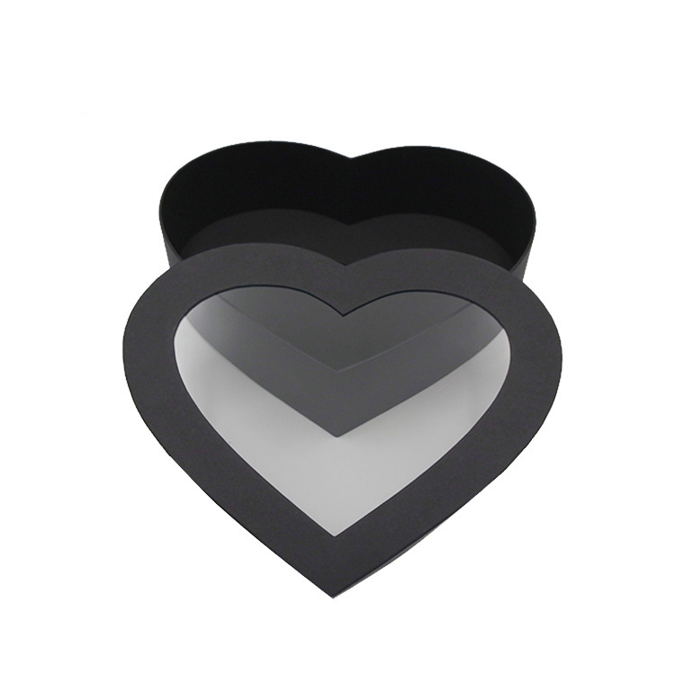 Paperboard Heart Shape Rigid Gift Box With Clear Window