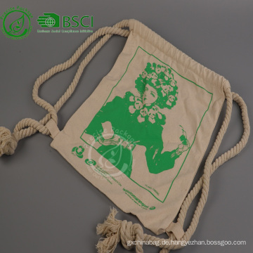 Wiederverwendbarer Rucksack aus Baumwolle mit Kordelzug und Logo