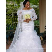 China Por encargo blanco rebordeado vestido de boda trompeta para las mujeres africanas