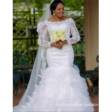 China Custom Made White Beaded Trumpet Wedding Dress For African Women