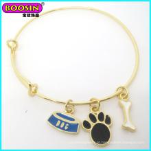 Bracelete temático do cão feito sob encomenda elegante do esmalte de ouro do metal