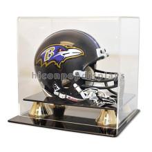 Kundenspezifische Metallbasis Acryl Würfel Zähler Top Single Motorrad oder Fußball Helme Verkauf Display