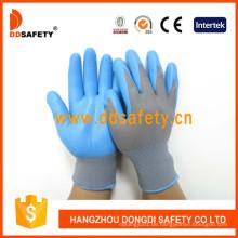 Graues Nylon mit blauem Nitril-Handschuh Dnn817