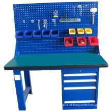 Mesa pesada de trabalho com banco de ferramentas com gabinete de ferramentas