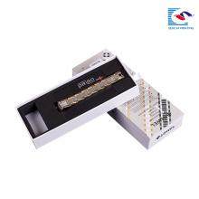 caixa de papel personalizada luxo do retângulo da correia do relógio do papel de kraft do logotipo do sencai com inserção da espuma