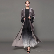Propietario diseñador marca OEM fabricante de etiquetas mujeres Dubai costumbre Kimono Fashion Front abaya