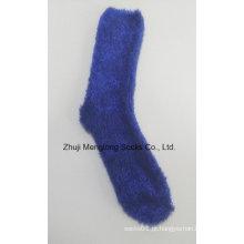 Moda meias de senhora de fios de pluma inverno quente