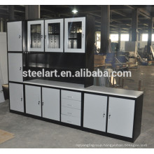 Glass window design stainless steel kitchen cabinet