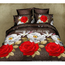 Microfiber Textile Fabric 3D Red Rose Bedding Set and Bed Sheet Set China