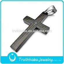 Chegada nova Moda Estilo Lord's Prayer Bíblia Cruz Pingente de Aço Inoxidável Colar Atacado