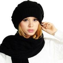 (LKN15029) Промоциональные зимние трикотажные шапки-шапки с шарфом