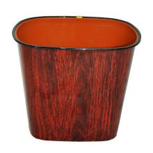 Brown Wood Design Plastic Open Top Waste Bin (B06-069-3)