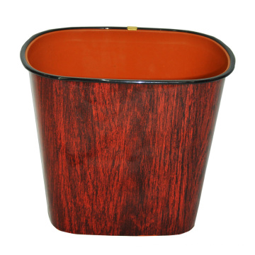Brown Wood Design Plastic Open Top Waste Bin (B06-069-3)