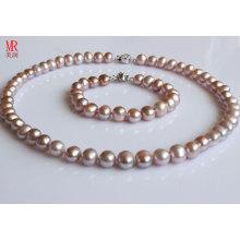 9-10mm fast runder Lavendel Perlen Halskette Set (ES1314)