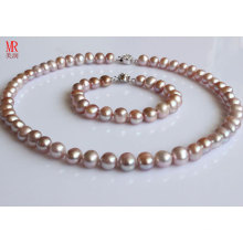 9-10mm Почти круглый комплект ожерелья перлы лаванды (ES1314)