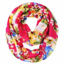 Floral Printed Women Fashion Polyester Chiffon Scarf (YKY1118)